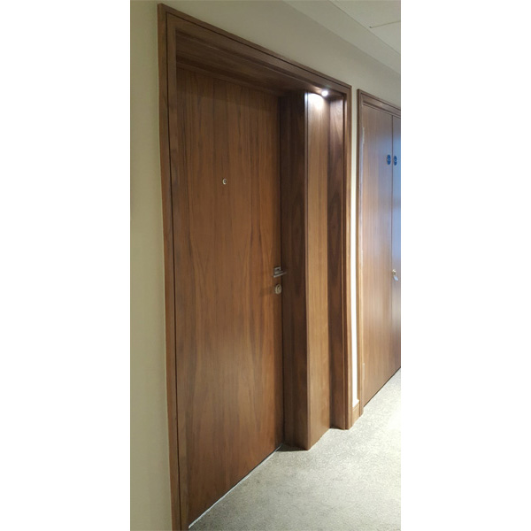 Walnut Veneer PAS24 Entrance Doorsets with Recessed Portals at Nine Elms Point, London